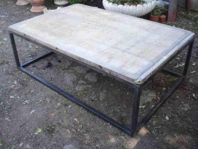 16 267 Metal Coffee Table Brickmakers Tops