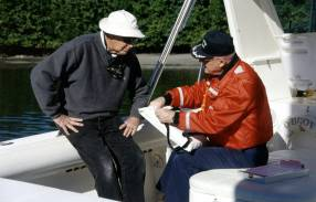 A local boater receives a free safety check.