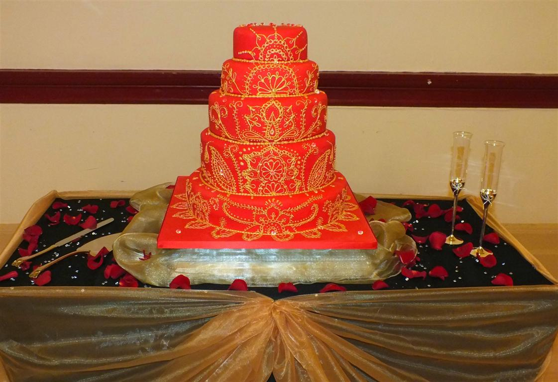 Red And Gold Wedding Cake Viewing Gallery