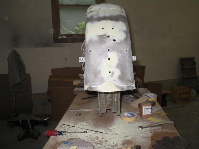 Knucklehead fenders repair and refinish.