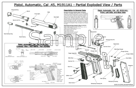 Us Army Colt 1911 A1 Pistol Schematic Poster Look For