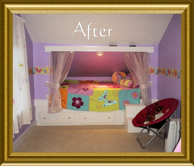 Finished bed for Bunk beds built into wall