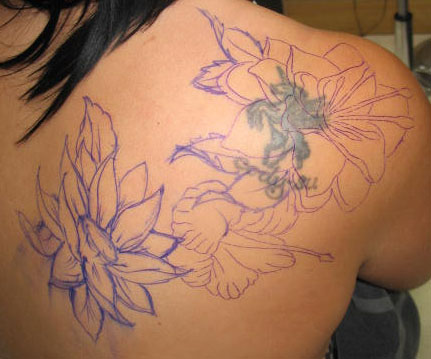 shoulder flower cover up tattoos for women