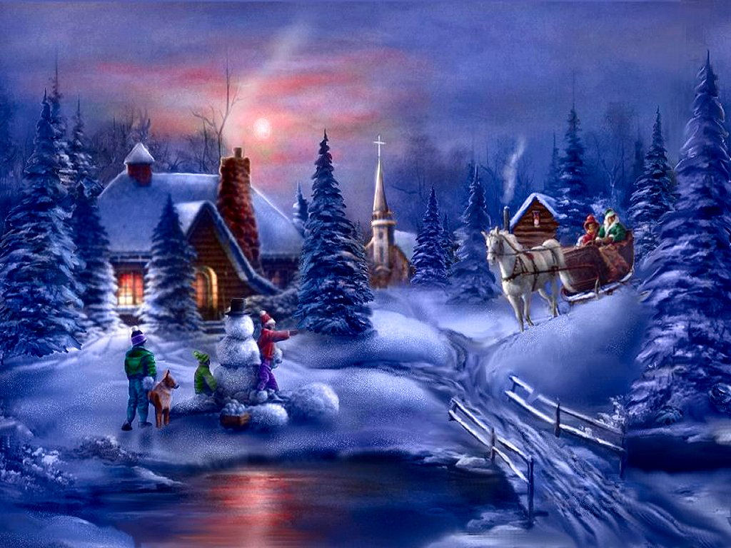 Christmas Scene Screensaver Wallpaper: Very Popular Images: Kerst Achtergronden