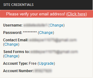 manage account how do i verify my websid or email address webs