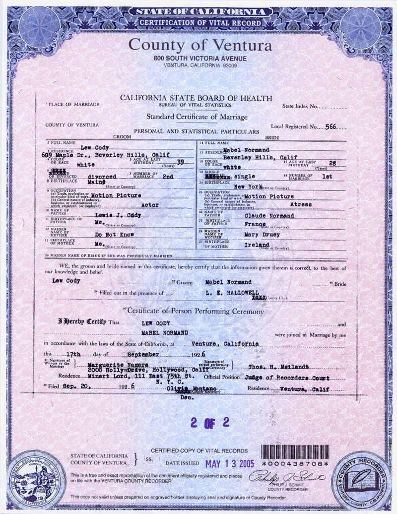 Birth certificate california ventura county image collections mabel normands log looking for mabel normand i try and stay away from the fan magazines aiddatafo Gallery