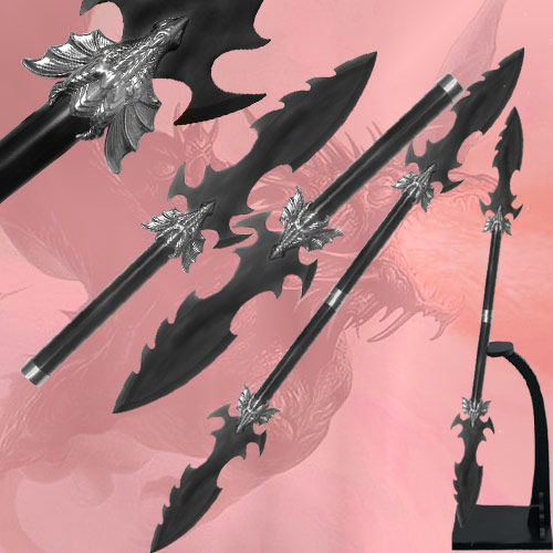 Double dragon spear 48 5 quot dragon spear 13 quot blade all black