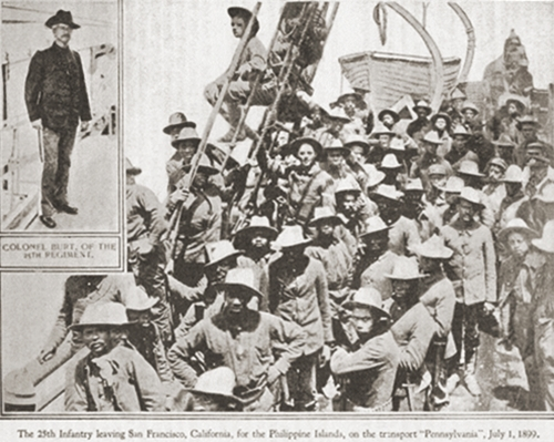 Companies from the segregated Black 24th and 25th infantry regiments reported to the Presidio of San Francisco in early 1899.