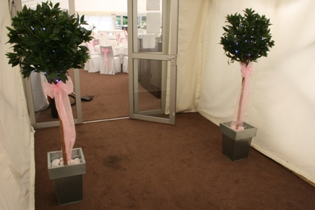 Aston Hall Hotel bay tress at the entrance to the marquee