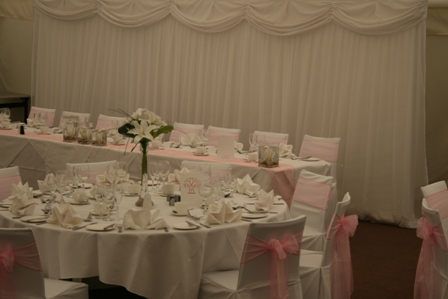 Aston Hall Hotel chair covers and backdrop in the marquee