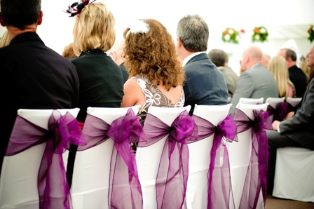 Aston Hall hotel dressed with cadbury's purple organza sashes