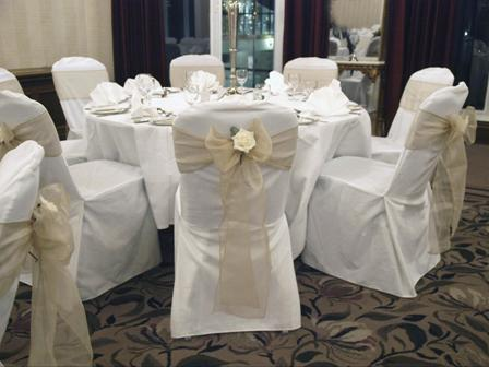 Champagne sashes with ivory rose
