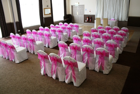 Clumber Park Hotel Chair Covers With Hot Pink Organza Sash