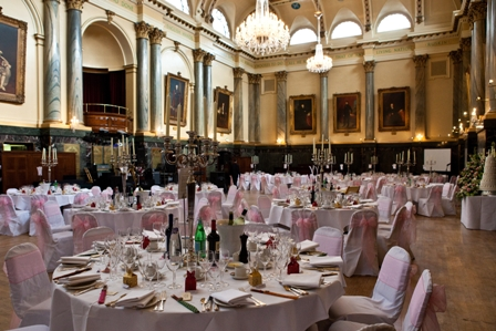 Cutlers Hall dressed with baby pink organza sashes and candelabras