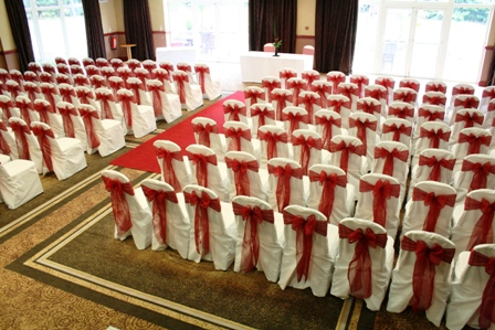 Hellaby Hall hotel chair covers with claret sash