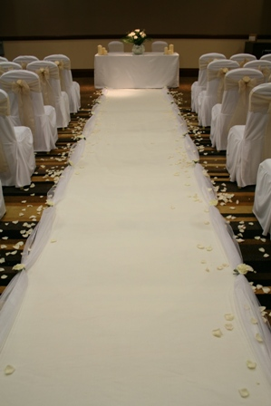 White aisle runner wedding