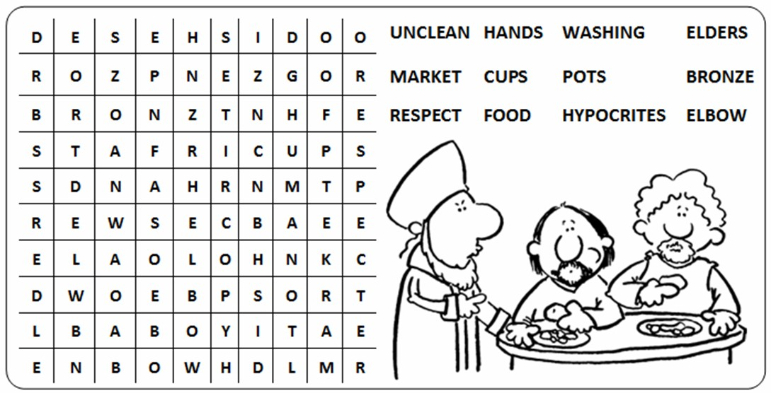 Gospel of Mark 7 1-23 - Clipart, Coloring pages, Puzzles, Children's