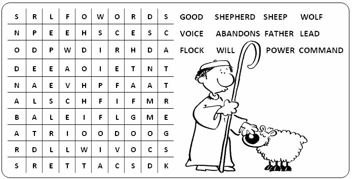 Good Shepherd Word Find Kids 4 Jesus Pinterest Sheep Worksheets