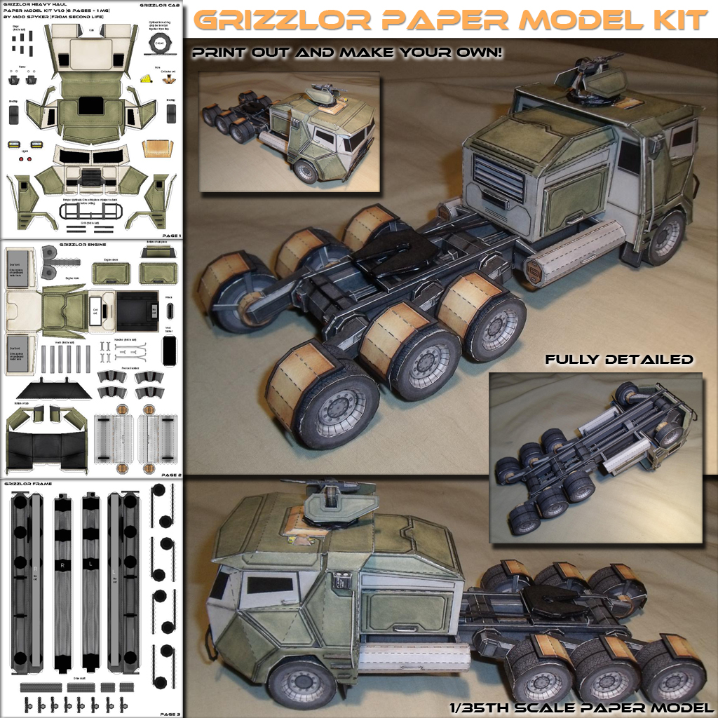 Grizzolor Truck Papercraft Model! FREE!