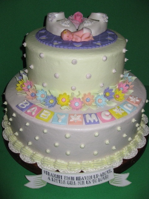 Cake Decorating Without Fondant : Baby Shower Cakes: Girl Baby Shower Cakes Without Fondant
