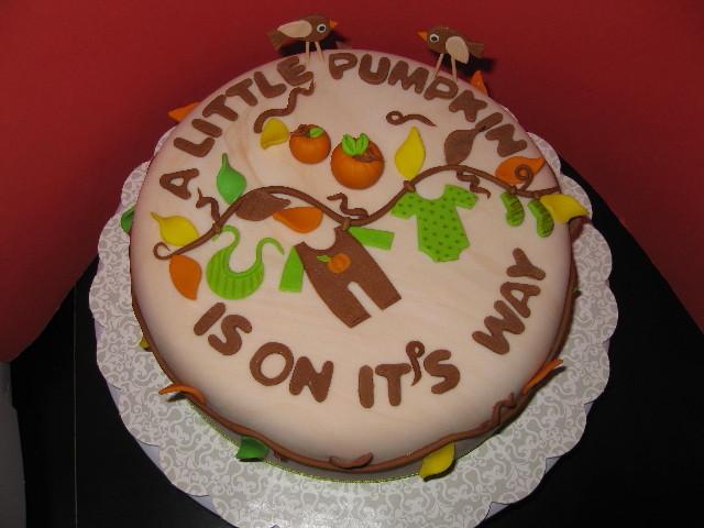 little pumpkin baby shower cake