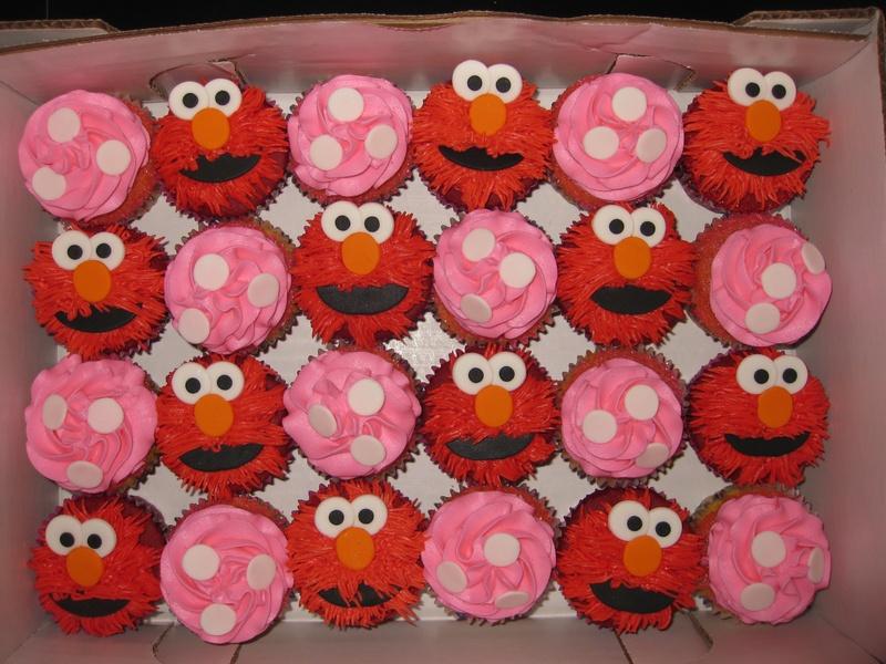 Red velvet and vanilla cupcakesElmo cupcakes @ $30per dozenPink ...