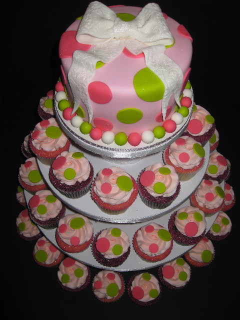... cupcakes make a beautiful display. Cake serves 8 @ $40Custom cupcakes